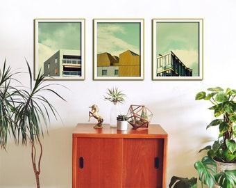 Modern Minimalist Set of 3 Prints, Architecture Art, Modern Wall Art, Large Photo, Mustard Yellow, Modern Wall Decor, Apartment Wall Art