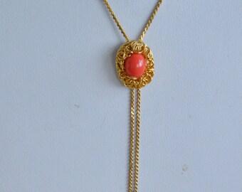 "Delicate Vintage Coral Orange ""Y"" Necklace, Lariat-style Necklace, Gold tone, 15"" (AG10)"