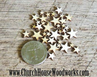 50 Tiny Mixed Size Mini Wood Stars, Wood Confetti - Rustic Wedding Decor- Table Decorations- Wooden Stars-  DIY Craft Supplies