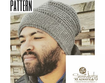 Crochet PATTERN | Men's Hat Crochet Pattern | Boy's Hat Crochet Pattern | Crochet Pattern for Men | His Knittish Slouch Beanie PDF Pattern