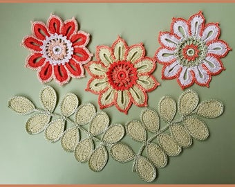 crochet flower pattern,detailed tutorial,crochet embelishment,crochet brooch,crochet pin pattern,crochet home decor,irish crochet motifs