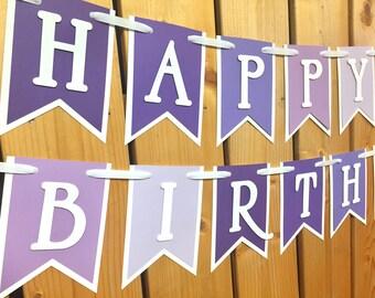 custom purple ombre birthday banner, custom banner, birthday banner, party decorations, party banner, happy birthday, 1st birthday, birthday