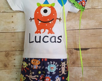 Monster Cake Smash Outfit, Personalized Birthday Shirt, First Birthday Cake Smash; Boys cake smash outfit