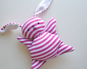 Mauve Pink Stripey Mooshy Belly Bunny - Easter - baby toy - Rabbit Plush - Stuffed Animal - Upcycled - Bunny Plushie - Soft - Sweet - Small