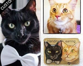 CUSTOM CAT PORTRAIT - Pet Stud Earrings Custom Pet Earrings Cat Stud Earrings Custom Earrings Resin Earrings Gift Idea Custom Jewelry