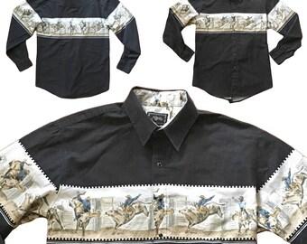 Vintage Men's Cowboy Print Western Shirt — M/L