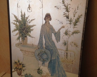 Rare old Vintage woman drawing mirror!