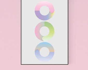 Three Geometric Circles in Pastels - Modern Graphic Design Art Poster