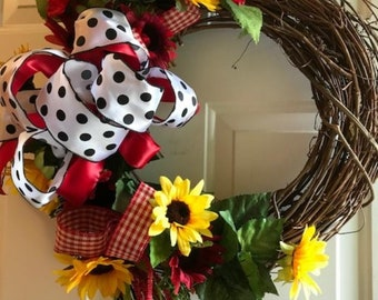 Sunflowers and Ribbon Wreath,  Black and White, Polka Dot Wall Wreath,  Door Wreath, Fall Wreath, All year Wreath,  Red Sunflower Wreath,