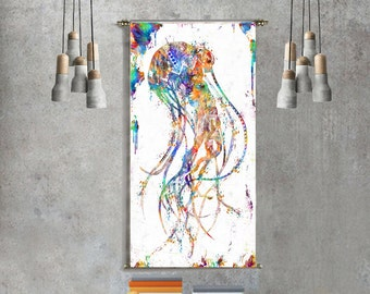 Jellyfish art Tapestry wall hanging jellyfish poster jellyfish print jellyfish decor jellyfish decor poster print scaleph art scaleph poster