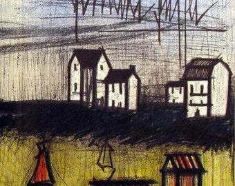 """Bernard Buffet """"Landscape 1"""" Original Lithograph printed 1968  -f"""