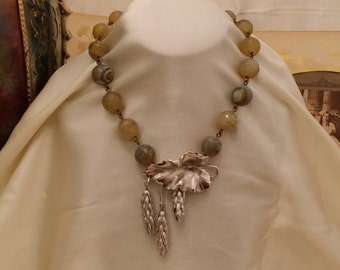 Beautiful Faceted Mossy Green Semi Precious Stone and Moonstone Necklace with Vintage Silver Leaf Pendant Drop