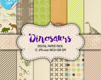 "75% OFF SALE Digital paper pack ""Dinosaurs"" - Printable paper pack sheets 6x6 inch Digital Background Paper 15x15 scrapbook Dino paper"