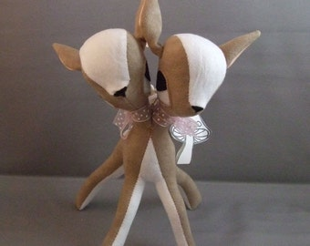 Fawn Deer Two Headed Twin Deers in Light Brown soft sculputure baby gift retro freak conjoined twin MADE TO ORDER
