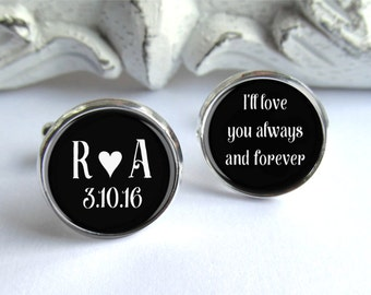 Groom Cufflinks, Personalized Wedding Cufflinks, Gift For Groom
