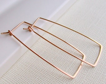 Rose gold rectangle hoops  Bridesmaid gift geometric hoops silver rectangle hoops gold rectangle hoops modern hoops lightweight hoops