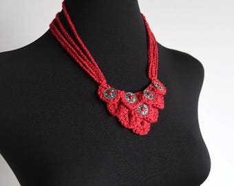 Statement Necklace Red Color Fiber Crochet Bib Style Necklace with Metal Flower Pendants