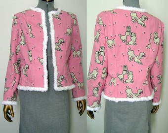 Chanel Style Jacket Pink Poodles and White Poodle Trim SM