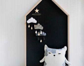 Neutral baby mobile- White and grey cloud mobile- Neutral gender nursery mobile- Kids room decor- Ceiling Mobile- Baby mobile-monochrome