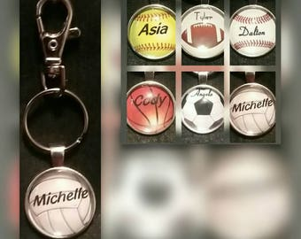 Personalized sports key chains / tags