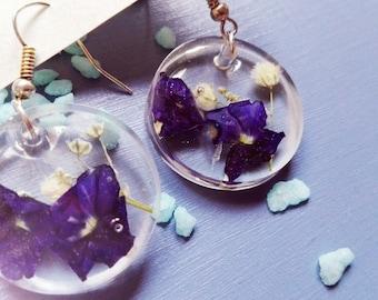 Transparent Hydrangea earrings