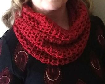 Dark Red Hand Crocheted Infinity Cowl