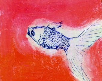 Light Green Fishie on Red - original painting, small painting, affordable art, home decor - wantknot shop