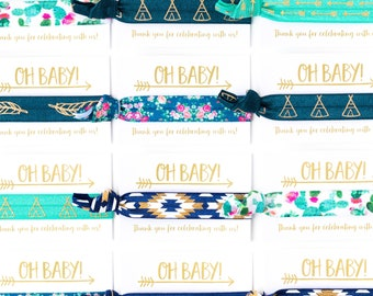 OH BABY! Boho Baby Boy Shower Favors | Cactus Floral Boho Hair Tie Favors, Baby Shower Hair Tie Favors, Blue Green Boy Baby Shower Favors