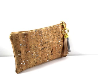 Cork Clutch with Zip and Tassels,  your cosmetics bag, essentials bag,  wedding clutch, travel bag, accessories, gift