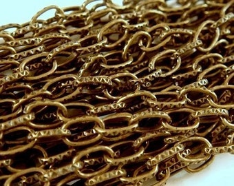 16ft Cable Link Chain Antique Brass Patterned Steel 5x3mm Textured Chain Not Soldered Lightweight - 16.4 feet - STR9002CH-AB16