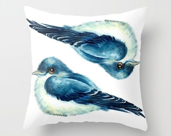 "Throw Pillow Cover with pillow insert Indoor "" SWALLOW "" .PRINT, animal, art - woodland - fine -living - childrens , room - nursery - babies"