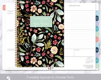 personalized planner 2018 & 2019 calendar | add monthly tabs custom weekly student planner | planner agenda | black meadow floral
