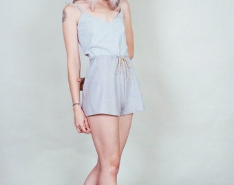 Neely - Blue and white striped romper with loose, flared shorts - boho 70's style