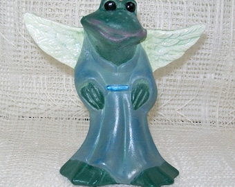 Foofie the Frog Angel / Frog Angel Figurine / Ceramic Angel / Angel Statue / Frog Statue / Angel Decor / Angel Gift