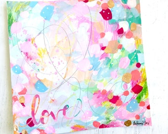 Love painting on paper with gold foil accents / 8x8 inch paper original painting / colorful home decor / Kindness art / Be Kind