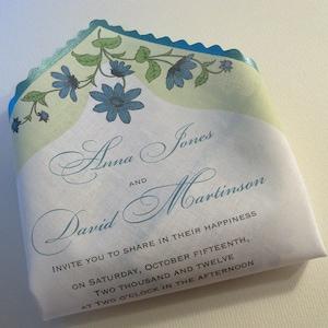 Rustic Wedding Invitation, Handkerchief Invitations With Blue Flowers, Backyard  Wedding, Floral Bridal Shower