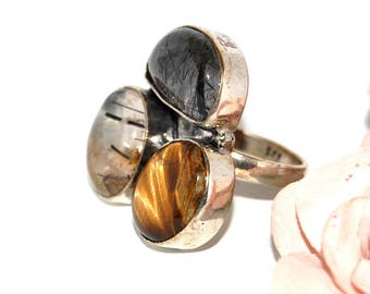 Ring trio in rock crystal, quartz, Tiger eye and 925 Silver - size 55 - after the beach