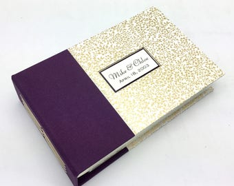 Purple and Gold Mini Photo Album, Made to Order, Easy-load 4x6 photos
