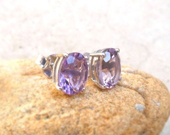 Sterling Silver Amethyst Stud Earrings Purple Gemstone studs Silver Post Stud Earrings February Birthstone Jewelry Women's Stud Gift for her