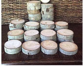 """Set of 35 or 40 Aspen Slabs (3-4"""") Wood Slices - Rustic Wedding Decor - Wood Disc - Coasters - Unfinished & Craft Supplies - Table Decor"""