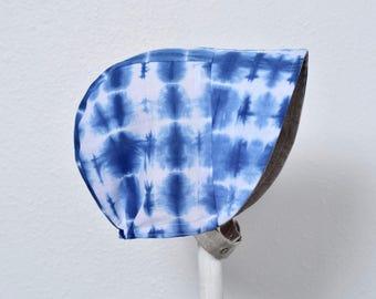 Reversible Baby Bonnet Indigo Shibori + Linen