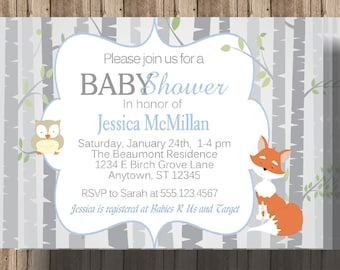 FOX BABY SHOWER Invitation for Boys / Woodland Baby Shower Invitation / Owl Fox Birch Trees Boys Shower Invite / Blue and Gray Forest Animal