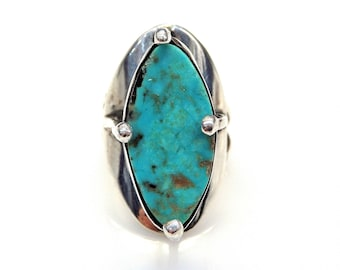 Sterling Silver Tall Marquise Turquoise Ring