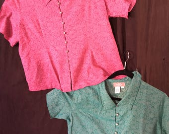 PLUS Size (LG/XLG)Choice Cranberry or Green Blouse by Territory Ahead