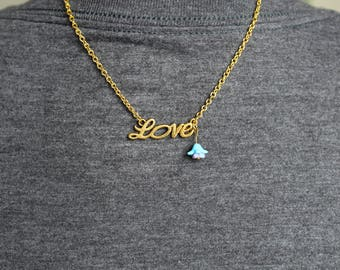 Gold Love and Flower Necklace