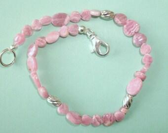 Gemstone Jewelry Bracelet - Rhodochrosite and Sterling Silver Gemstone Beaded Bracelet