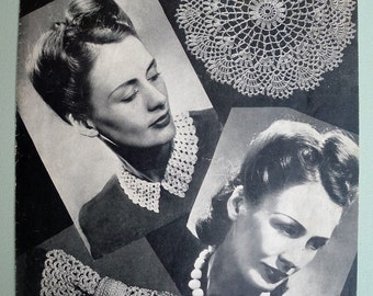 Vintage Crochet Pattern 1940s Women's Fashion Accessories - collar bow tie beads doily - 40s original pattern - Penelope Designs No. 1227 UK