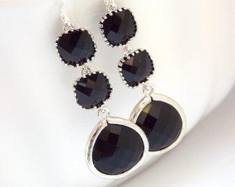 Black Earrings, Glass Earrings, Silver Earrings, Dangle Earrings, Bridesmaid Jewelry, Bridesmaid Earrings, Bridal Jewelry, Bridesmaid Gifts