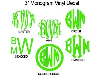 3 Inch Monogram Vinyl Decal