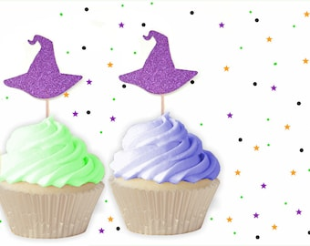 Purple Witch Hat Cupcake Toppers -  Halloween Cupcake Toppers, Halloween Party, Halloween Decorations, Witch Party